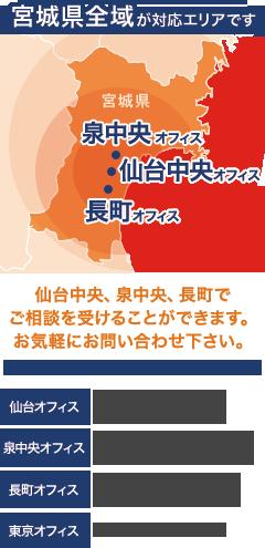 宮城県全域が対応エリアです